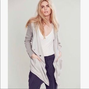 Free People gray linen hooded jacket